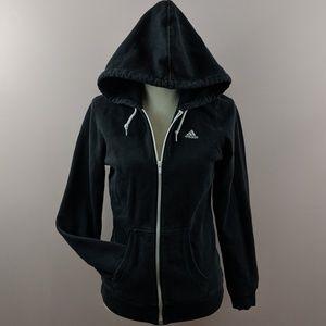 Adidas Zip Up Drawstring Black & White Hoodie